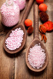 Pink bath salt Stock Images