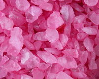 Pink bath salt crystals Royalty Free Stock Photography