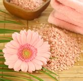 pink bath salt, pink gerber and towel Royalty Free Stock Image