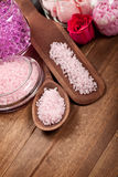 Pink bath salt for Spa Royalty Free Stock Photography
