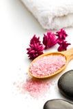 Pink bath salt on wooden spoon Royalty Free Stock Photo