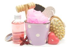 Pink bath set Royalty Free Stock Photos