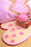 Pink bath towel, natural soap, bomb salt Royalty Free Stock Photography