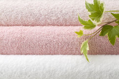 Pink bath towels Stock Photos