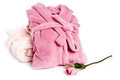 Pink Bathrobes and Rose Royalty Free Stock Image