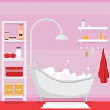 Pink bathroom for girl. Interior of pink female bathroom Stock Images