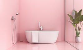 Pink bathroom interior, 3D rendering royalty free illustration
