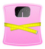 Pink bathroom scale. Vector illustration of  pink bathroom scale with measuring tape Royalty Free Stock Image