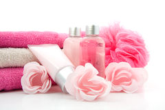 Pink bathroom and spa accessory Stock Photos