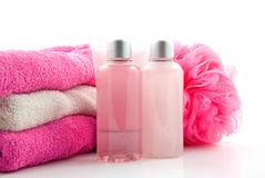 Pink bathroom and spa accessory Royalty Free Stock Images
