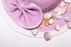 Pink Beach Hat with Beautiful Shells Stock Photos