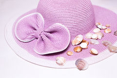 Pink Beach Hat with Shells Stock Photography