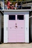Pink beach hut, Lyme Regis. Royalty Free Stock Photography
