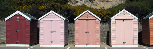 Pink Beach Huts Stock Photos
