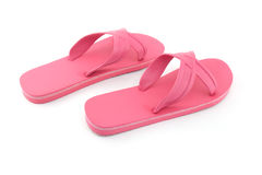 Pink beach sandals flip flops isolated on white Royalty Free Stock Photos