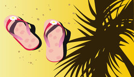 Pink beach sandals on sand Stock Images