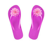 Pink beach shoes with flowers isolated on white Stock Photos