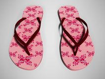 6cead1b13 Pink beach slippers for girl with red flowers 3d render on gray background  with shadow.