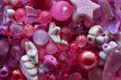 Pink beads. Abstract background of pink beads Stock Photography