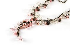 Pink beads necklace Stock Images