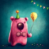 Pink bear and balloon royalty free illustration