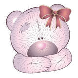 Pink bear with bow Stock Images