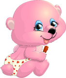 Pink bear cub. The bear cub gently holds ice cream royalty free illustration