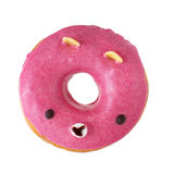 Pink bear donut. Pink donut as a bear with a funny little face  on white background Stock Photo