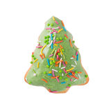 Pink bear donut isolated. Doughnut in the form of the Christmas tree with colored sprinkles on a white background isolated close-up top view Royalty Free Stock Photos