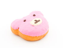 Pink bear face donut Royalty Free Stock Photography