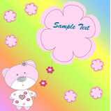 Pink Bear with flowers in rainbow background. Vectors illustrati Stock Illustration