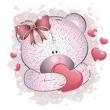 Pink bear with heart Royalty Free Stock Image