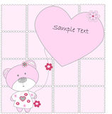 The pink bear with hearts on pink background Stock Image