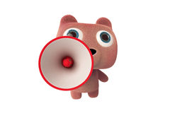 Pink bear and megaphone Stock Photography