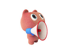 Pink bear and megaphone Stock Image