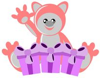 Pink bear with gift isolated royalty free stock photo