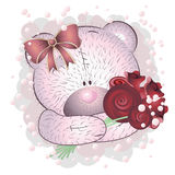 Pink bear with roses Stock Photos