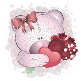 Pink bear with roses Stock Photography
