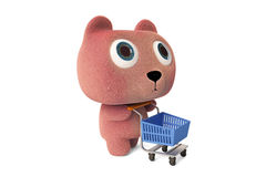 Pink bear and Shopping Cart Stock Photography