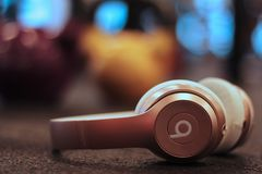 Pink Beats headphones royalty free stock image