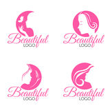 Pink Beautiful Face lady woman logo vector set design Stock Images