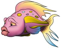 Pink Beautiful Fish. Cartoon illustration as vector Royalty Free Stock Image