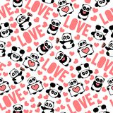 Pink, beautiful and romantic hand drawn pandas with hearts love typography design repeated pattern vector. Cute and funny hand drawn pandas with hearts love Stock Image