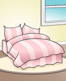 Pink Bed Background. This is an illustration of a bedroom with comfortable looking pink bed Stock Image