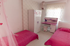 Pink Bedroom, Beds and Desk Stock Photos