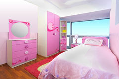 Pink bedroom Stock Photos