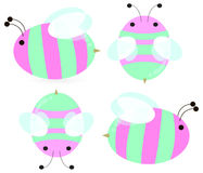 Pink bees stock illustration