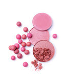 Pink and beige blush balls and blush powder Stock Images