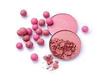 Pink and beige blush balls and blush powder Royalty Free Stock Photos