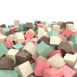 Pink, beige, brown turquoise green colored simple 3D cubes on white Royalty Free Stock Photography